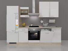 Küchenzeile Valencia 280 cm hochglänzend weiss Sonoma Eiche