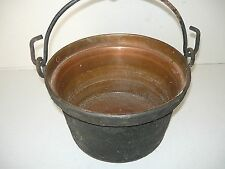 Antico paiolo caldaio in rame con manico anni '40 originale da riutilizzare