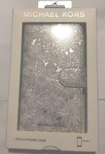 niB Michael Kors  Floral White/Silver Folio Case for iPhone X/XS