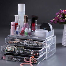 Clear Acrylic Makeup Cosmetic Organiser Case Jewelry Storage Box Holder Drawers