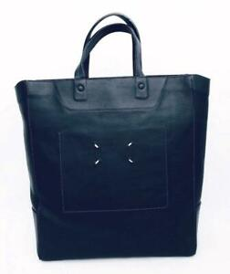 MAISON MARTIN MARGIELA Dark Blue Leather Tote Bag RRP1295usd New
