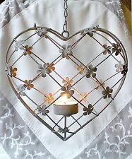 ❀ Hängeleuchter Herz z. Hängen 20cm Metall Geflecht Blüten Teelichthalter #108A