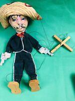 Vintage Mexican Folk Art String Puppet Guns Marionette 1960's Sombrero