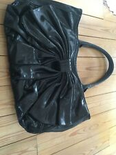 Lulu Guinness Sparkle Black Bow Wanda Bag Leather