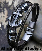 Metal Anchor Steel Studded Surfer Leather Bangle Cuff Bracelet Braided Rope Look