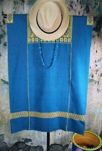 M/L Huipil Short Dress Teal & Gold Handwoven Backstrap Loom Mayan Chiapas Mexico