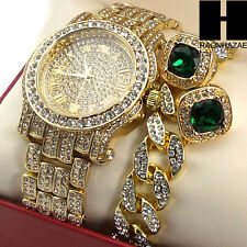 Hip Hop Iced Out Simulated Diamond Watch Cuban Bracelet & Emerald Earring Set