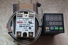 90-265V Digital F/C PID Temperature Controller TA4-SSR+2M K Sensor+40A DA SSR