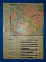 Vintage 1916 Atlas Map ~ PANAMA CANAL ZONE ~ Old & Original ~ Free S&H