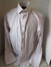 Thomas Pink Light Tan Plaid L.Sleeve Shirt Superfine Two Fold Size 16 34 1/2