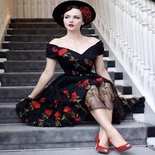 Roiii UK Rose Print Womens Retro Vintage Lace Swing Skater Party Dress Plus Size