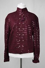 St John Evening by Marie Gray Maroon Sequin Embellished Blazer Size 10