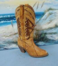 WOMENS MISS CAPEZIO COWBOY INLAY LEATHER BROWN BOOTS  SIZE 7 M   484
