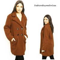 Women Camel Brown Longline Collared Button Thick Teddy Bear Fleece Coat S M L XL