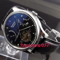 PARNIS 43mm Black Dial Power Reserve ST Automatic Movement Men's Watch