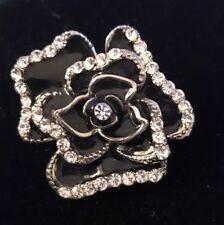"BOLD Enamel Flower Black Made with Swarovski Crystals Stretch Ring Abt 1-3/4"""