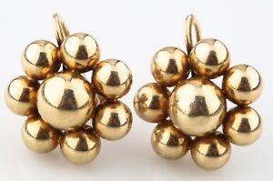 Tiffany & Co. Vintage 14k Yellow Gold Flower Earrings w/ Screwbacks & Box