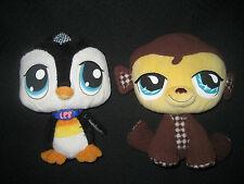 2 Peluches PetShop Singe et Pingouin  (L:22cm) d'occasion en Tbé