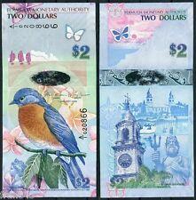 BERMUDA 2 Dollars dolares 2009 2013 Pick 57 SC / UNC