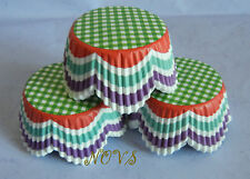 100 Green pink plaid  petals cupcake liners baking paper cup muffin case
