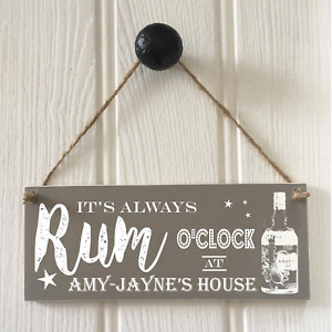 Fun Grey Rum O'Clock Sign New Home Gift Man Cave Fathers Day - Drinks Sign