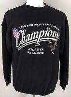 ATLANTA FALCONS 1998 NFC CHAMPIONSHIP Sweater NFL FOOTBALL sz L Black