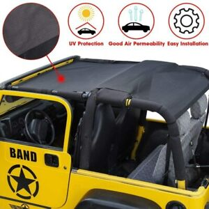 Mesh Sunshade Top Cover UV Protection For Jeep Wrangler TJ 1997-2006 (Black)