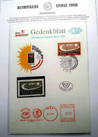 RARE 1996 RUSSIA MOSCOW OLYMPIC AUSTRIA PRESENTATION SHEET WITH STAMP & METER MA