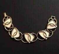 Vintage 1970s Trifari Kunio Matsumoto Gold Tone & Enamel Modern Link Bracelet