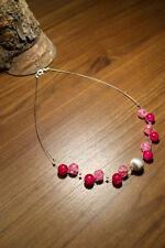 Neu unikat pink rosa fuchsia Glas kette Halskette Collier Glasperlen Perlen