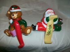 2 Vintage JoyBrite Celluloid Plastic Santa Bear Christmas Stocking Holder Hanger