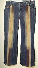 ARMOR JEANS Rare Womens 13/14 Boho Hippie Wide Flare Thick Stitch Seam Hong Kong