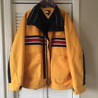 Tommy Hilfiger Vintage Winter Lined Waterproof Jacket Spell Out Mens XL Yellow