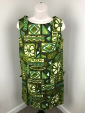 VTG Royal Hawaiian Pleated Dress Green XXS Cotton Abstract Print Sleeveless