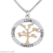 HX 1PC The Tree Of Life Pendant Necklace Carved Live Love Family Laugh