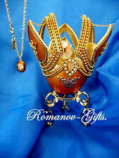 Russian Imperial Monarch Butterfly Golden Music Box Egg and Egg Necklace