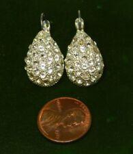 Brillante Color Plata Blanco Diamante Imitacion Pendientes de Clip 12k 49