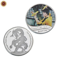WR Bruce Lee In Yellow Track Suit Silver Challenge Coin Kung Fu Super Star China