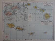 Victorian MAP 1896 delle isole Polinesiano Inc Fiji il Times ATLAS 1st Gen