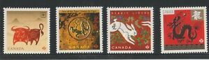 """CANADA, 2009-2012, """"YEAR OF DOX, TIGER, RABBIT, DRAGON"""" 4 DIFFER STAMPS MINT NH"""