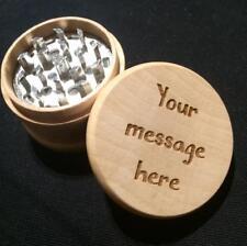 Personalised Engraved Wooden Herb Grinder Metal Teeth Crystal Catcher Collector