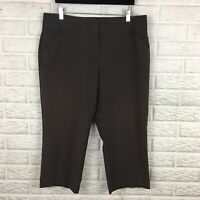 Nicole Miller Womens Cropped Pants 12 Brown Solid High Rise Stretch Career Capri