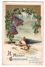 MERRY CHRISTMAS BELLS Over Winter Bridge Snow Scene Postcard IAPC Embossed 1912