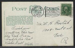 "1913 Honolulu, Hawaii Flag Cancel - ""Battleships Coaling at Honolulu"" Postcard"