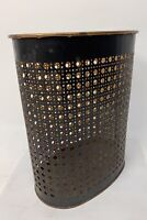 Vintage WEIBRO CORP Pierced Metal Trash Can Waste Basket Black Gold
