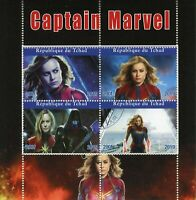 Chad Superheroes Stamps 2019 CTO Captain Marvel Carol Danvers Movies 4v M/S