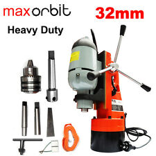 """Heavy Duty Magnetic Base Drill 32mm, Mt2 Spindle + 3/4"""" Annular Cutter Holder"""