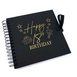 18th Birthday Black Scrapbook Photo album With Gold Script Present Design