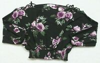 Stella Tweed Black Long Sleeve Floral Crop Top Shirt Size Small Womans Womens