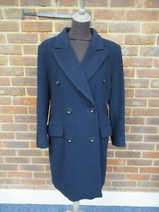 Harrods Ladies Navy Blue Double Breasted Wool/Cashmere Blend Coat Size: 12 1721